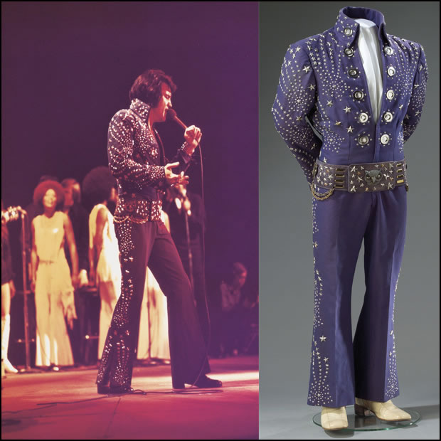 Most of Elvis' jumpsuits were white, but not all of them. This is the Owl from 1972 while filming his second concert documentary, 'Elvis on Tour'.