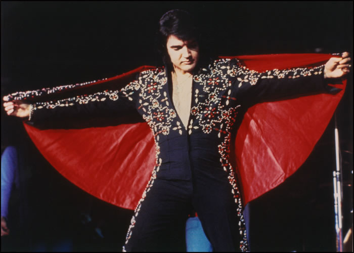 The Black Conquistador jumpsuit, designed by Belew, was worn by Elvis on stage in Las Vegas, Honolulu and San Bernardino. It was inspired by a tile floor pattern.
