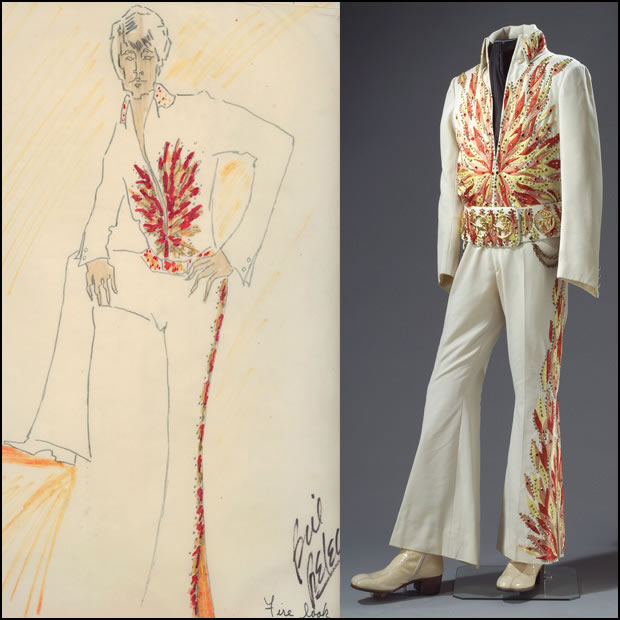 Bill Belew's design for the Flame jumpsuit is on the left, with the actual jumpsuit on the right.