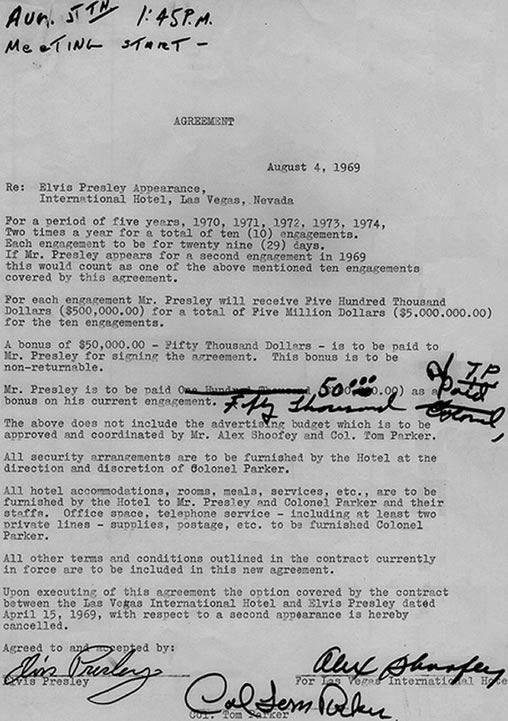 Elvis Presley's Las Vegas Contract Agreement