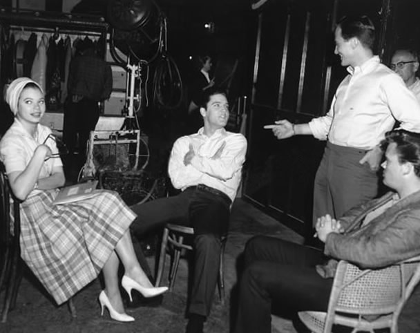 Juliet Prowse, Elvis Presley, and Pat Boone - G.I.Blues Set 1960.