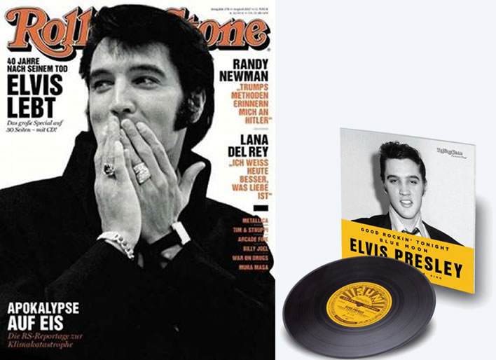 Rolling Stone Magazine + Exclusive 7 inch Elvis Presley Sun Single.
